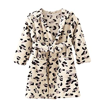 ECHERY Boys Girls Hooded Pajamas Soft Coral Fleece Bathrobe Unisex Dressing Gown Sleepwear