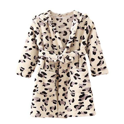 XINNE Unisex Kinder Mädchen Jungen Kapuzen-Bademantel Weiche Tier Schlafanzug Morgenmantel Nachtwäsche Pajamas Größe 130 Leopard