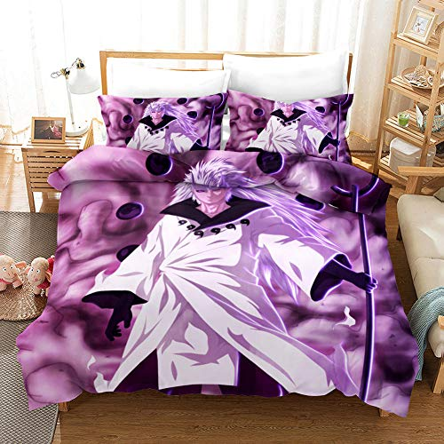 SKYZAHX Bedding Set Duvet Cover Purple Cosmic Space Naruto Microfiber Quilt Cover 55x79inch and 2 Pillow Cases, with Zipper closure Soft and breathable, Single