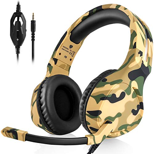 Pacrate Gaming Headset für PS4 Xbox One, Kopfhörer mit Noise Cancelling, Stereo Gaming Headset mit Mikrofon 3,5mm, Over Ear Kompatibel mit PS4 Xbox One PC Laptop Mac