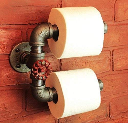 Industrial Pipe Double Roll Toilet Paper Holder, Toilet Roll Hol