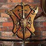 Powzz ornament Esparta Escudo Espada Romana Antigua Decoración Mural Antique Escudo con Armadura Hacha Medieval Lion Ornament Artesanía Ktv Bar para Colgar En Pared