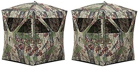 Barronett Blinds Radar Portable Lightweight Pop-Up 2 Person Ground Deer/Turkey Hunting Hub Blind with Rear and Mesh Windows, Backwoods Camo, 2 Pack