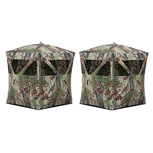 Barronett Blinds Radar Portable Lightweight Pop-Up 2 Person Ground Deer Turkey Hunting Hub Blind with Rear and Mesh Windows, Backwoods Camo, 2 Pack