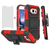 Phone Case for Samsung Galaxy S6 Active with Tempered Glass Screen Protector Cover and Holster Belt Clip Rugged Hard Protective Cell Accessories Glaxay S6Active 6s S 6 6Active G890A Cases Black Red
