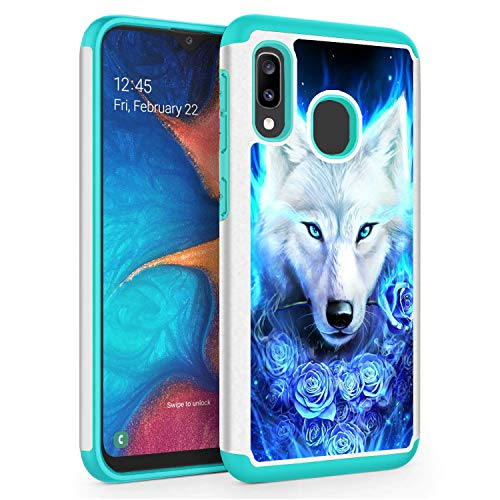 Compatible with Galaxy A10E Case, Galaxy A20E Case,Skyfree Shockproof Heavy Duty Protection Hard PC & Soft TPU Hybrid Dual Layer Protective Phone Case for Samsung Galaxy A10E/A20E,Blue Rose Wolf