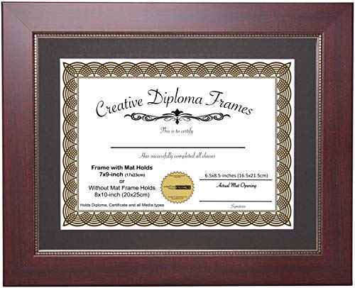 CreativePF [79-810mrv-b] Printed Gold Relief Mahogany Diploma Frame with Black Matting Holds 7x9-inch Documents with Glass and Installed Wall Hanger