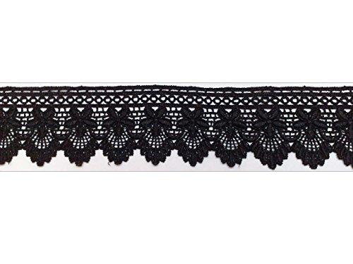 1m ÄtzSpitze Spachtelspitze Spitzen-Borte Guipure Zierband Vintage Shabby 55mm breit Farbe: schwarz 562