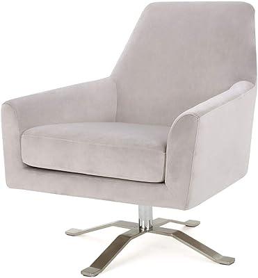 Christopher Knight Home Ailis Velvet Swivel Club Chair, Light Grey