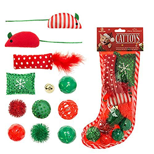 KOOLTAIL Christmas Cat Toys Stocking 12 Pack, Interactive Kitten Toys Assorted for Kitty with Colorful Crinkle Balls, Fluffy Mice, Pillow and Bell