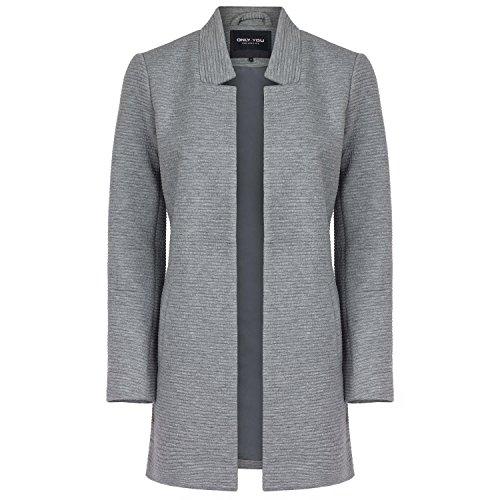ONLY Damen Sweat-Cardigan Long Blazer, Farbe:hellgrau;Größe:S