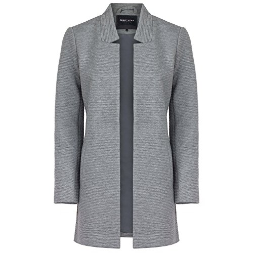ONLY Damen Sweat-Cardigan Long Blazer, Farbe:hellgrau;Größe:M