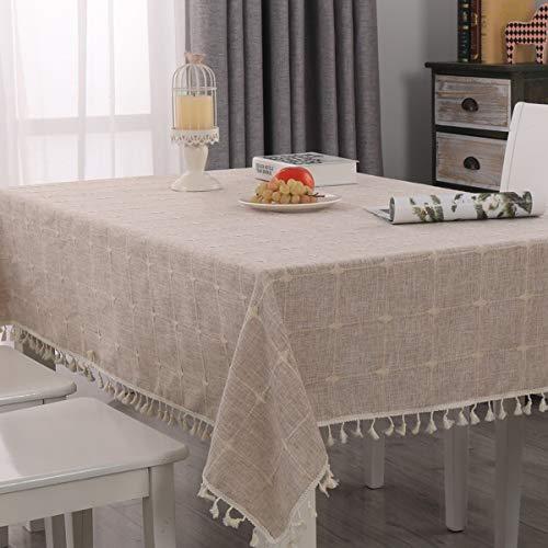 Topmail Rechteckige Tischdecke Tischwäsche abwaschbare Tischtuch aus 100% Polyester Geeignet für Home Küche Dekoration (Khaki-1, 140 x 180 cm)