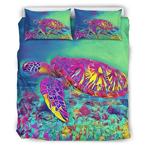 shenminqi Turtle Premium - Juego de cama de 3 piezas, ultrasuave, lujoso, ligero, para todas las estaciones, para dormitorio, 168 x 229 cm, color blanco