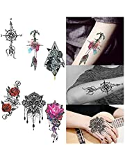 6 Sheets Elaborate Temporary Tattoo Sticker Rose Owlface Compass Anchor Provisional Body Art Black Tattoos Stickers Decals for Women Man Party Favor Supplies
