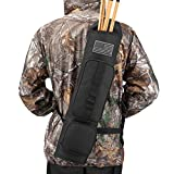 Kratarc Back Arrow Quiver Archery Field Quiver Shoulder Hanged Carry Hunting Target Arrow Quiver Bag with 2 Pockets (Black)