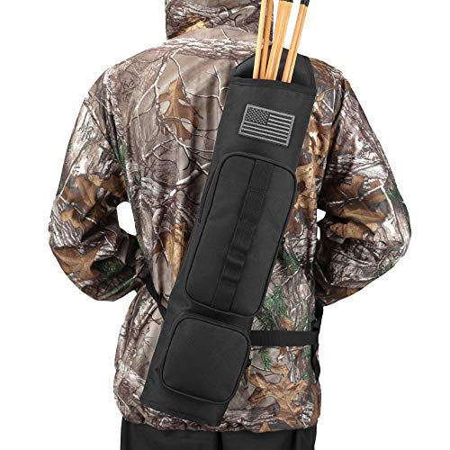 Kratarc Back Arrow Quiver Archery Field Quiver Shoulder Hanged Carry Hunting Target Arrow Quiver Bag with 2 Pockets