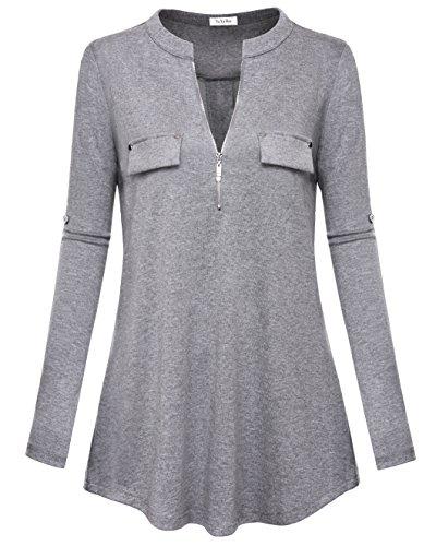 YaYa Bay Damen Bluse mit V-Ausschnitt, langärmelig, Roll-Up-Ärmel, Reißverschluss -  Grau -  Medium(40-42)