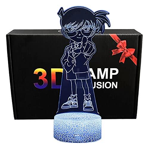 ABS Touch Cartoon Night Light Detective Conan LED Deak Lámpara Niños Luces para Dormir Regalos creativos para cumpleaños Navidad(Crack Base 7 Colors)
