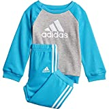 adidas Baby Jogginganzug Logo Crew Jogger medium Grey Heather/Shock Cyan/White 62