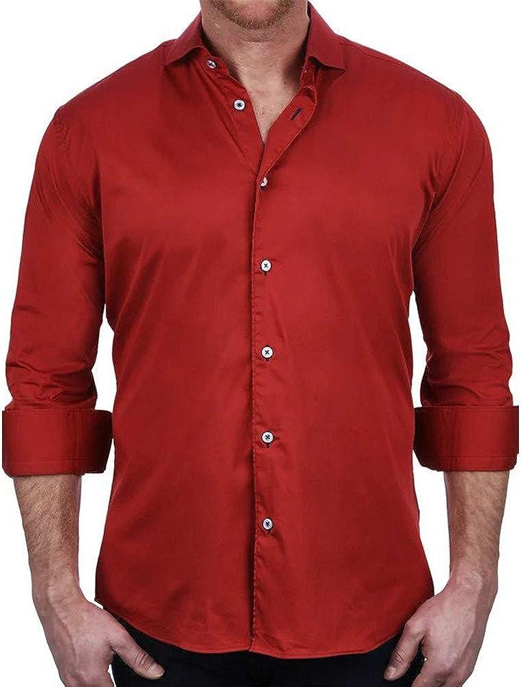 Maceoo Mens Designer 4 Way Stretch Dress Shirt - Stylish & Trendy - Einstein Soft Butter Black - Tailored Fit