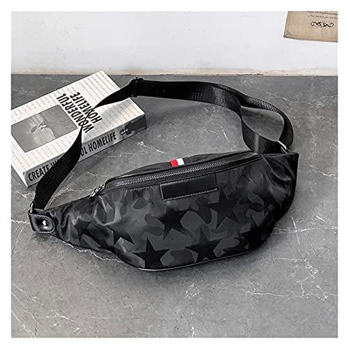 ZNXJC Hombres Paquetes De Cintura Nylon Bolsas A Prueba De Agua Paquetes De Pecho Viajes Masculinos Crossbody Bolsos Bolsa De Cintura Negra Monedero (Color : Black Waist Packs, Size : 40 * 12 * 10CM)