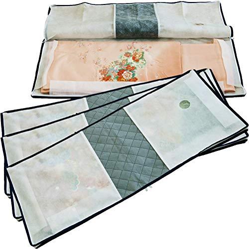 アストロ 浴衣 着物収納袋 4枚 3方開き 不織布 活性炭消臭 ファスナー付き 171-49