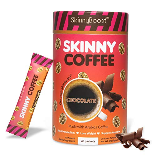 Skinny Boost Skinny Coffee- (Chocolate Flavored) Instant Slimming Coffee Blend Made with premium Arabica Coffee, Garcinia Cambogia, Green Tea Extract, Green Coffee Bean Extract, and Prebiotics- Supports Weight Loss and Detox-Gluten Free/Keto Friendly, Non GMO. (28 Packets)