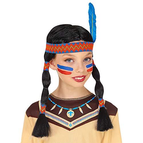 Widmann 46933 Indiaanse pruik meisjes zwart