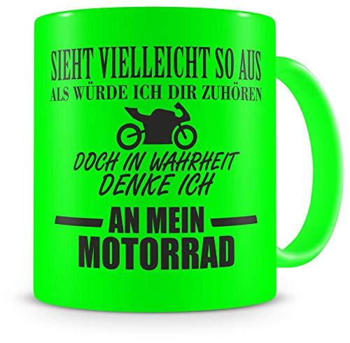 Samunshi® Ich denke an mein Motorrad Tasse Kaffeetasse Teetasse Kaffeepott Kaffeebecher Becher Nr.3: neon grün/schwarz 300ml