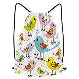 Impermeable Bolsa de Cuerdas Saco de Gimnasio ilustración vectorial lindos pájaros coloridos pueden Deporte Mochila para Playa Viaje Natación