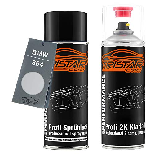 TRISTARcolor Autolack 2K Spraydosen Set für BMW 354 Titansilber Metallic/Titanium Silver Metallic Basislack 2 Komponenten Klarlack Sprühdose