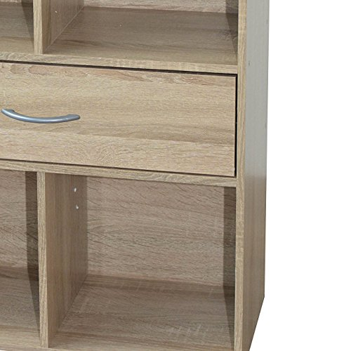 Alsapan Compo Meuble de Rangement 4 Casiers + 1 Tiroir Bibliothèque Etagères Cubes Chêne 80 x 62 x29.5 cm