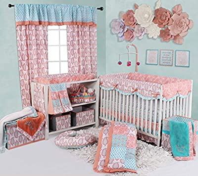Bacati - Sophia Paisley 10 Pc Girls Crib Baby Bedding Set Including Crib Rail Guard 100 Percent Cotton for US Standard Cribs. (Coral/Aqua)