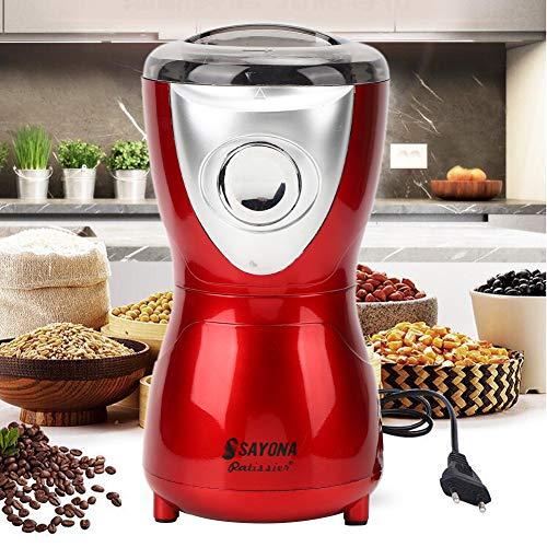 【𝐒𝐞𝐦𝐚𝐧𝐚 𝐒𝐚𝐧𝐭𝐚】 Molinillo de café eléctrico, máquina de molienda de café Grano de café Herramienta de trituración de granos manual con cuchilla de acero inoxidable para cereales Granos Grano