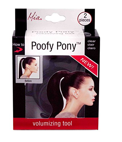 Mia Poofy Pony | Ponytail Volumizing Hair Styling Tool | Go From Thin to a Thick Full Ponytail Using Your Own Hair | Brown Tool + 1 Elastic Rubber Band | for Women, Teens, Moms, Thin Hair, Survivors