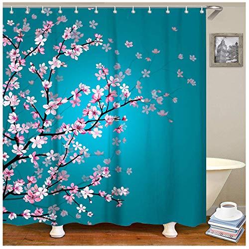 KEKESHIGEDOU Duschvorhänge Rosa Blumen Duschvorhang Stoff blaugrün Bad Vorhang Kirschblüte dekorative Bad Vorhang mit 12 Haken 200x180cm