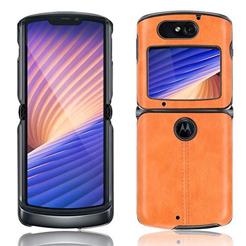 GOGME Hülle für Motorola Razr 5G/4G Hülle, Ultra-Slim Silikon Handyhülle Leder-Erscheinungsbild Retro Schutzhülle, Stoßfeste Handy-Tasche für Motorola Razr 5G/4G, Gelb