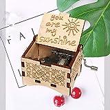 Jieddey Caja de Música Eres mi Sol,Caja Música Mecánica de Madera Crank Music Boxes con Manivela Vintage Caja Musical con Grabado de Sol Regalo para cumpleaños,Navidad,día de San Valentín