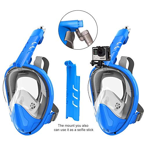 Snorkel Rock Máscara de esnórquel antifugas, 180 Grados, Diseño panorámico de Cara Completa con Amplio área de Visualización para GoPro