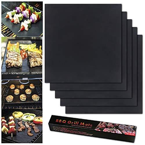 BBQ Grillmatte 5er Set Grillmatten 100% Antihaft Wiederverwendbar Grillmatten Einhaltung der FDA-Standards PFOA Frei Grill Mat für Holzkohle Gasgrill & Backofen 40 * 33cm (Schwarz)