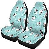 TABUE Juego de 2 fundas para asientos de coche diseño de muñecos de nieve, para Navidad, color rojo, verde y blanco