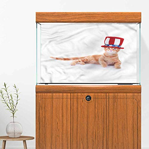 DJOQ Fish Tank Wallpaper Sticker Background Decoration Cat Kitty USA Flag Hat 72' L x 24' H Aquarium Background Easy to Apply and Remove