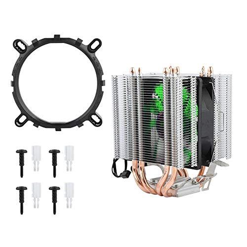 Radiador de la CPU, 4 disipador de calor del enfriador de alta eficiencia de bajo consumo de alta potencia en forma de tubo de calor para Intel LGA 1155/1156/1366 CPU Radiador del ventilador(Verde)