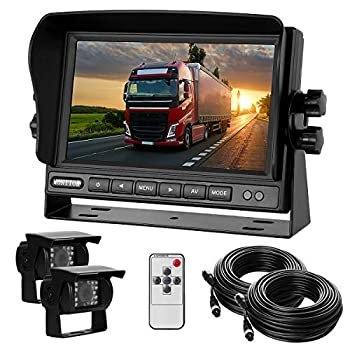 Dual Backup Camera with Monitor Kit System 12-24V  7  HD Monitor Reversing +2 Rear View 170° Wide Angel Night Vision Waterproof,18 Infrared Lights Camera Fit for Trucks/RV/Van/Campers/Vehicles.
