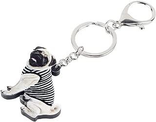 Porte Clef Gilet acrylique Bulldog Pug Dog Trousseau Clés Animal Mignon Bague Bijoux pour Femmes Les Filles Sac ADOS Location Sac à Main Charms