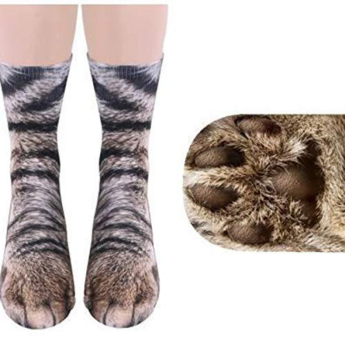 XingYue Direct Unisex Adult Animal Paw Socks 3D Simulación Digital Imprimir Gato Perro Pie Pata de pezuña Patas Calcetines de tripulación (Color : Cat)
