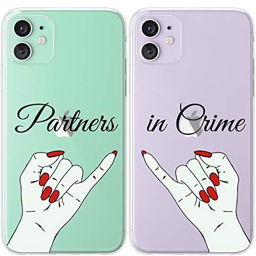 Mertak TPU Couple Cases Compatible with iPhone 12 Pro Max Mini 11 SE Xs Xr 8 Plus 7 6s Red Nails Slim Cute Lightweight Design Best Friend Hands Girlfriend Anniversary Relationship Partners in Crime