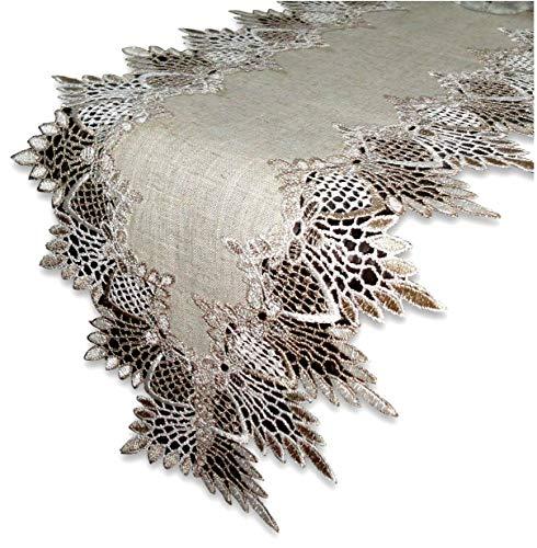 Lace 65' Table Runner Dresser Scarf Neutral Earth Tones Mantel Shelf European Lace