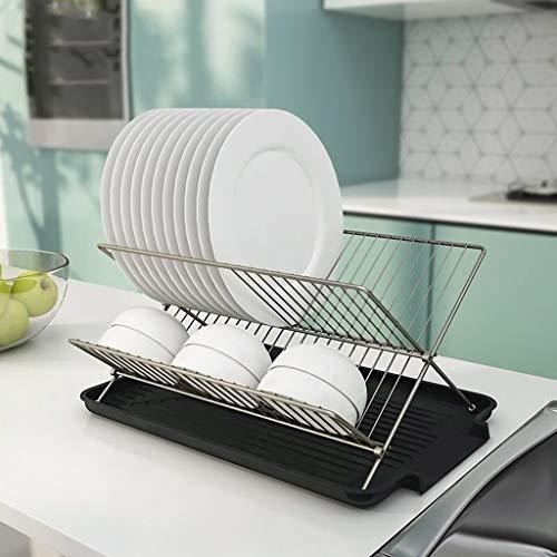 Cesta de Drenaje Plegable de acero al carbono escurreplatos estante y la bandeja, X Forma nivel 2-Placas de cocina Tazón Vajilla sostenedor del estante de secado plataforma de almacenamiento para Freg